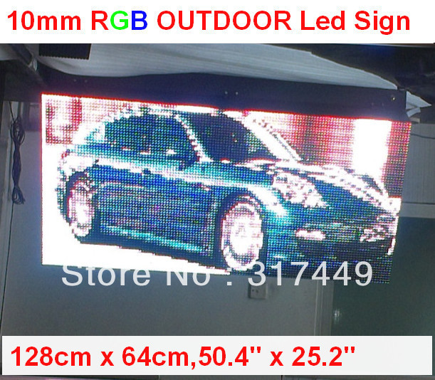 "P10 LED SIGN OUTDOOR 128cm x 64cm,50.4"" x 25.2"",FRONT OPEN  RGB LED MOVING FULL COLOR SCROLLING PROGRAMMABLE DISPLAY SIGN BOARD"