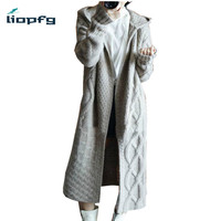2018 New Autumn Winter Women Cashmere Hooded Long Cardigans Ladies Casual Warm Open Stitch High Quality