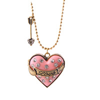 High Quality Women Jewelry European Fashion Pendant With Gold Chain Love Heart Shaped Powder Box Girls