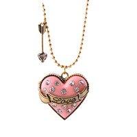 High Quality Women Jewelry European Fashion Pendant With Gold Chain Love Heart Shaped Powder Box Girls