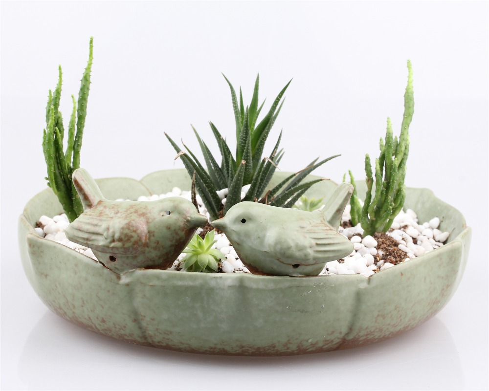 Bird Feeder Ceramic Succulent Plant Flower Pot Flowerpot Planter Nursery Pots