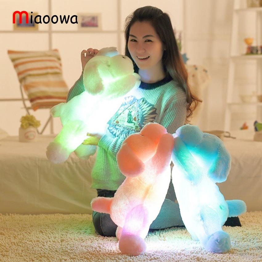 luminous dog plush doll colorful LED glowing dogs children toys