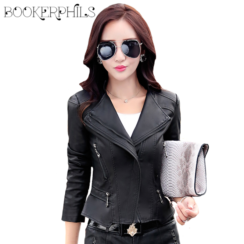 2018 Autumn Winter   Leather   Jackets Women Short Black Zipper Plus Size Motorcycle Faux Soft   Leather   Coat Female Outerwear M-5XL