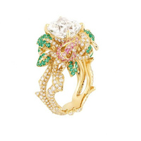 2017 г. Новое прибытие Ци Xuan_Luxury синтезировать цветок палец Rings_Plated розового золота роскошный Rings_Factory непосредственно продаж
