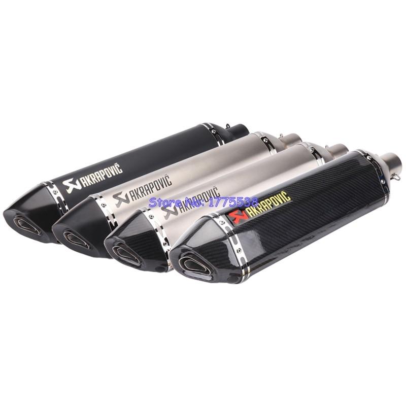 PHULEOVEO Laser Mark Akrapovic Motorbike Muffler Universal ID:51mm L:570mm Motorcycle Carbon Fiber Exhaust Muffler Escape Damper