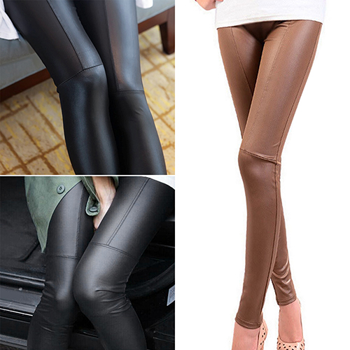Women Stretch Skinny Pants Slim Fit Tight Trousers Faux Leather Jeggings  Christmas Gift  6YVQ