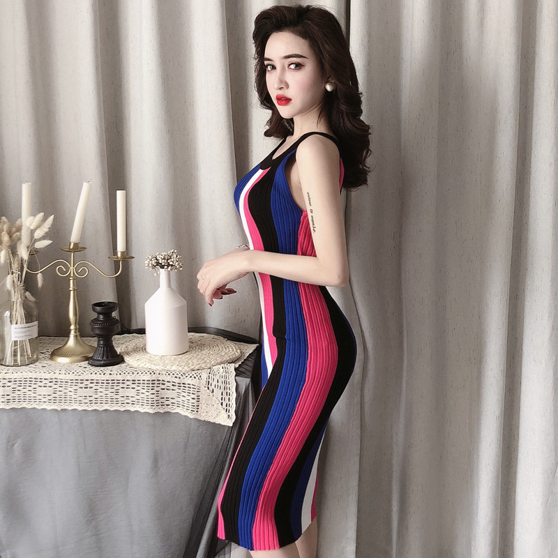 ALPHALMODA Summer 2019 New Round Neck Rainbow Vertical Striped Women Vintage Sexy Knit Dress Sleeveless Pullovers Ladies Vestido 2
