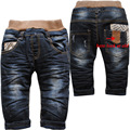 3815 suave denim y polar negro invierno cálido pantalones vaqueros del bebé pantalones vaqueros ocasionales de los muchachos pantalones del bebé niños
