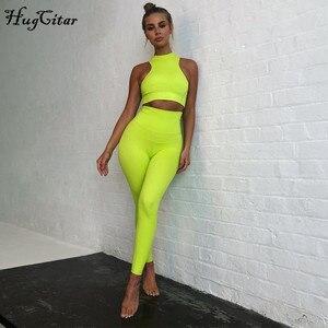 Image 5 - Hugcitar sem mangas camis leggings elásticos duas 2 peças neon rosa conjunto 2019 verão moda feminina elástico conjunto casual