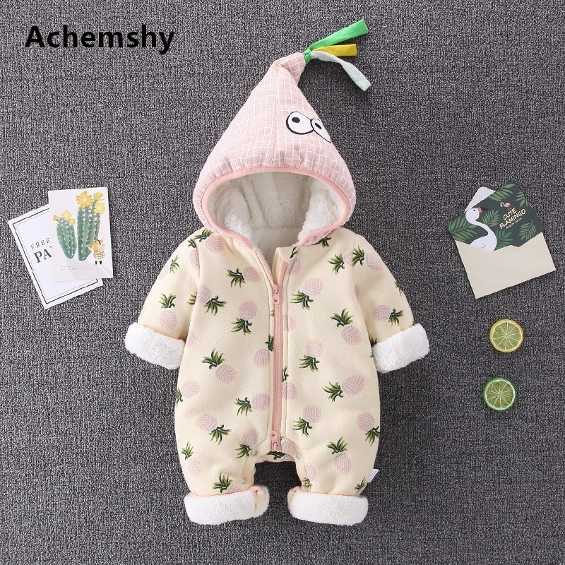Baby Winter New Velvet Thickening Clothes Infant Cute Pineapple Hooded Romper Boys Girls Warm Outwear Jumpsuit 3 Colors цена 2017