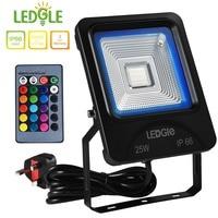 LEDGLE 25W LED Flood Lights RGB Floodlights Waterproof Outdoor Lights with Remote Control COB UK Plug 16 Colors 4 Lighting Modes