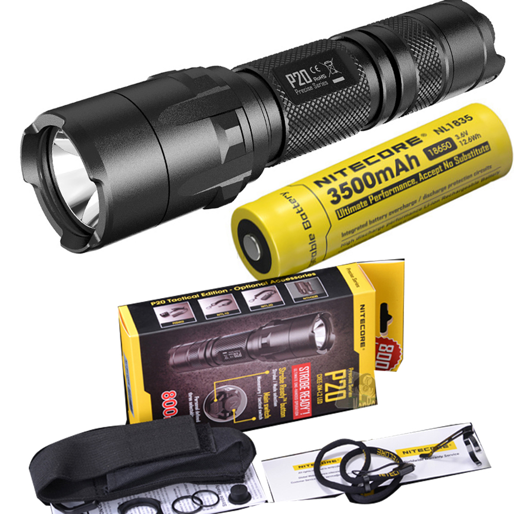NITECORE P20 Flashlight CREE XM-L2 (U2) LED max. 800LM beam Dual-switch tail LED torch for outdoor sports with 3500mAh battery nitecore p20 flashlight cree xm l2 u2 led max 800lm led torch for outdoor sports 3500mah 18650 battery and um10 charger