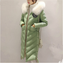 Thick Cotton Padded Jacket Fur Collar Hooded Long Section Down Cotton Coat Women Winter Fashion Warm Parka Overcoat TT215