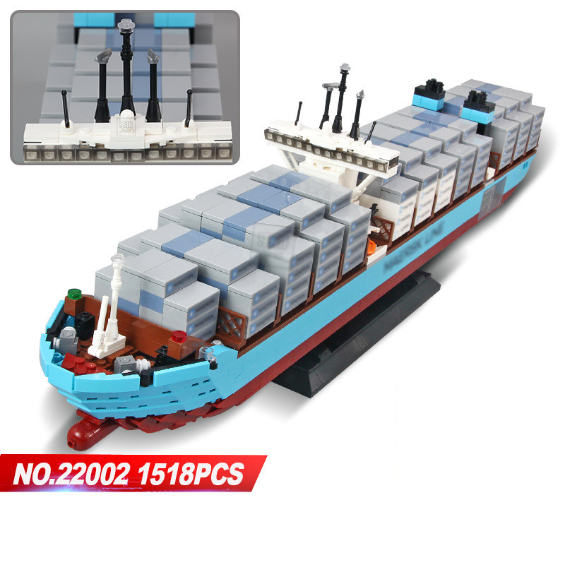 Lepin 22002 1518Pcs Technic Series The Maersk Cargo Container Ship Set Educational Building Blocks Bricks Model Toys Gift 10241 lepin 20035 new 631pcs technic series the container trucks and loaders set building blocks bricks educational toys with 42062