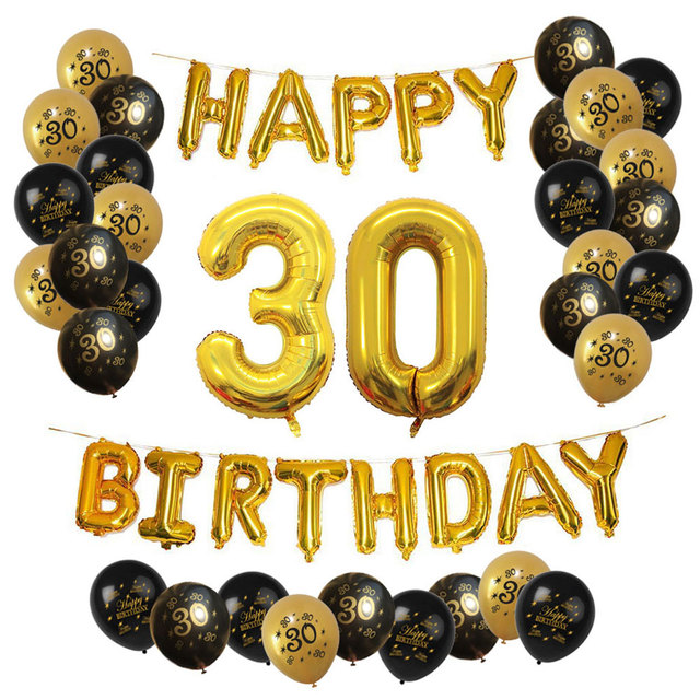 ZLJQ Happy 30th Birthday Balloons Set 33pcs Thirtieth Kit Foil Letters Latex Balloon Gold