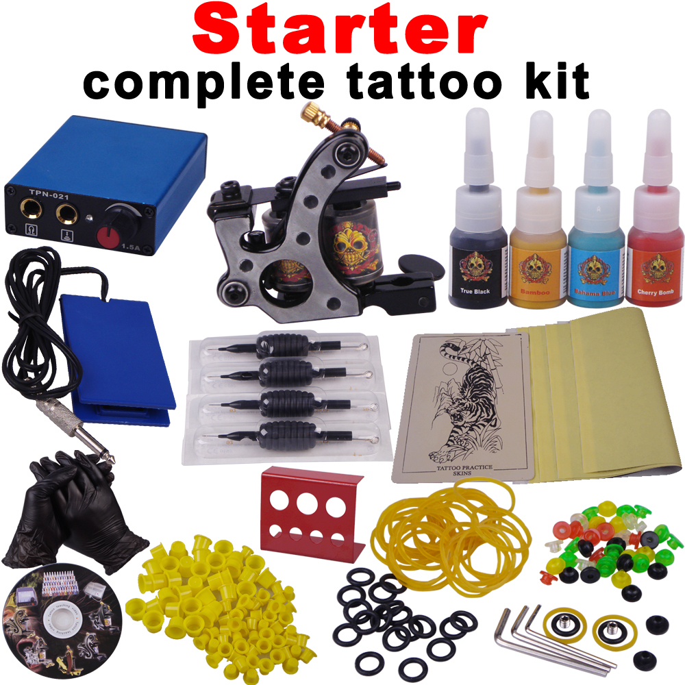 Free Shipping STARTER COMPLETE TATTOO KITS WITH MORE CHEAP STUFF -in ...