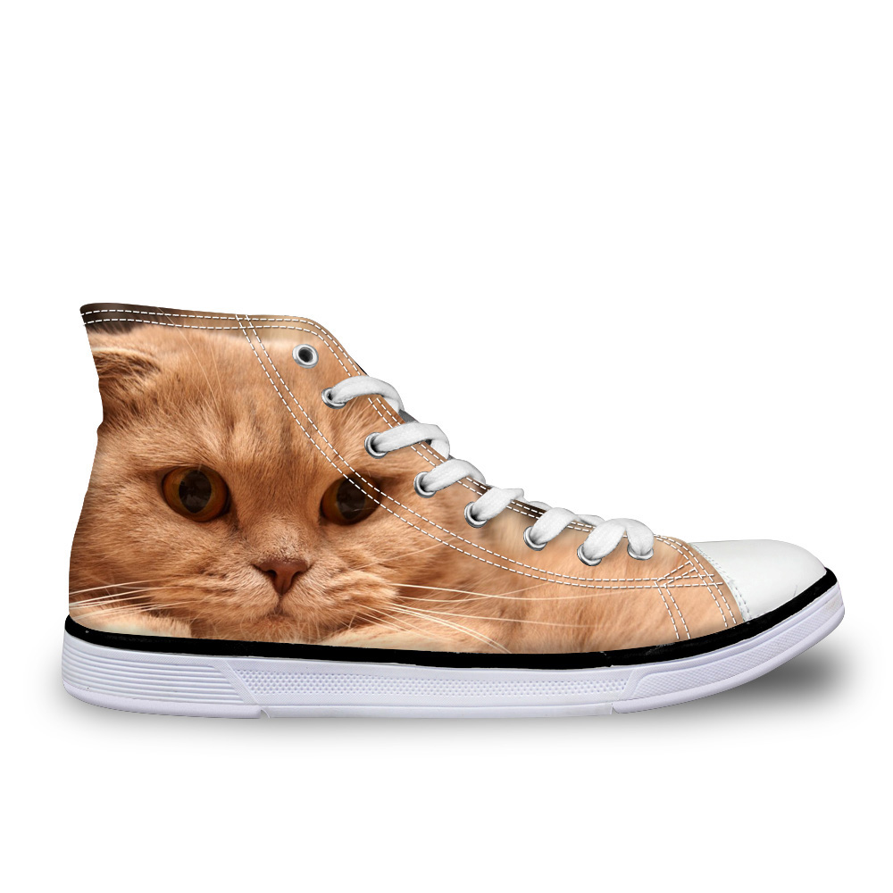 Customized Cute Animal Cat Printed Women Fashion Vulcanize Shoes Classic High Top Canvas Shoes Women Leisure Female Sneakers