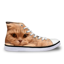 Customized Cute Animal Cat Printed Women Fashion Vulcanize Shoes Classic High To