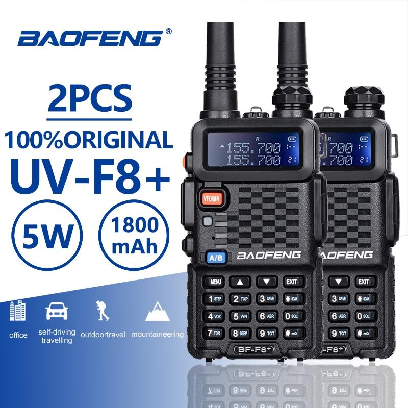 2 PCS Baofeng BF-F8 + UHF/VHF Walkie Talkie 10 KM Mit PTT Kopfhörer Portable Handheld Hotel CB Auto radio Station Ham HF Transceiver