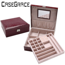 Rectangle Pu Leather-based Luxurious Jewellery Storage Field Casket Quickdone Multideck Desk Organizer With Mirror One Piece Free Delivery