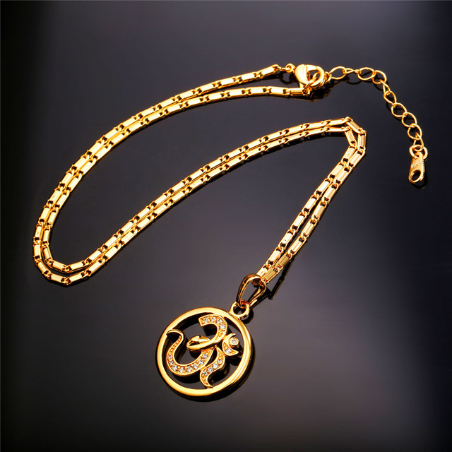 U7 Brand AUM OM Pendant Charm Necklace Zircon India Hinduism Jewelry Fashion Gold Plated Amulet Lucky Gift For Men/Women P922