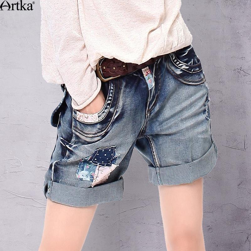 Artka Women's Summer New Patchwork Straight Denim Shorts Vintage All-match Bow&Pockets Decoration Shorts KN13436C