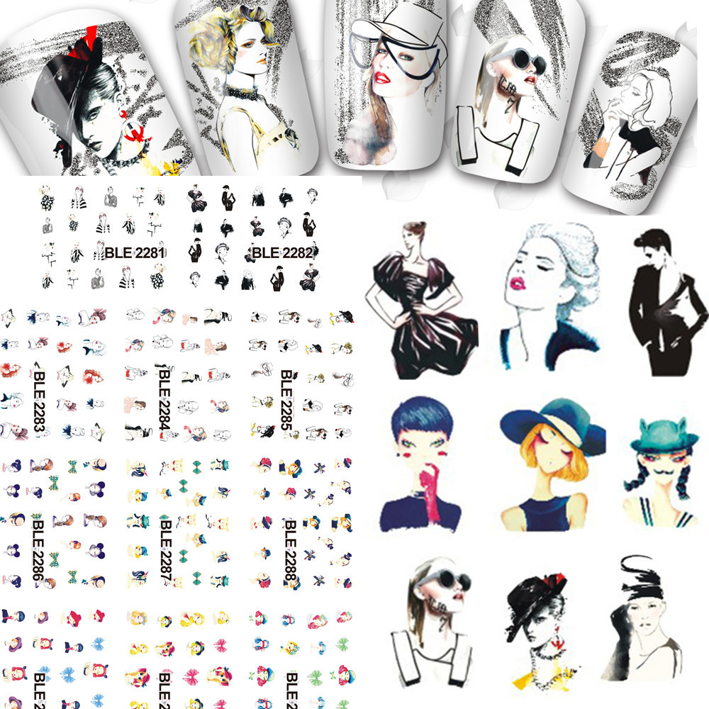 Beauty Girl 1sets 11 Designs Water Transfer Stickers New Sexy Women Figure Image Decals Nail Art Decorations Tips BLE2281-2291