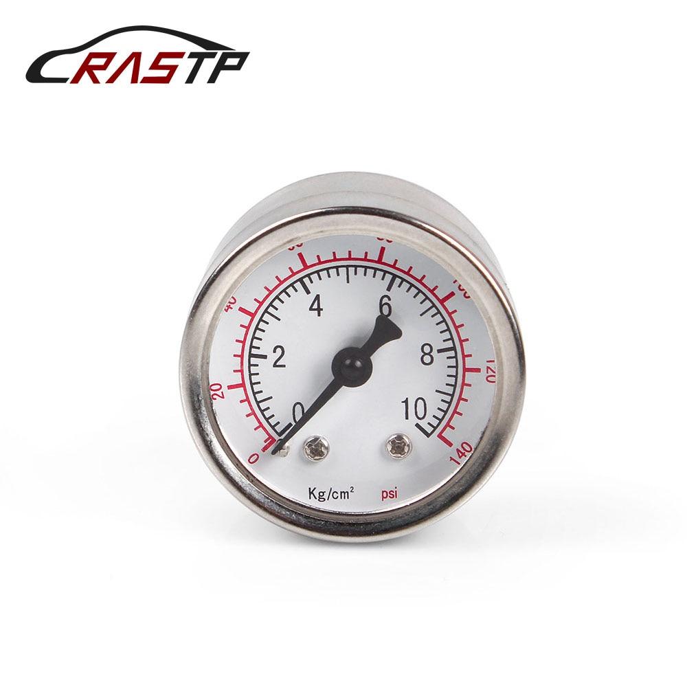 RASTP - Billet Aluminum Case 1/8 NPT Thread Fuel Pressure Gauge Liquid 0-140PSI Oil RS-CAP012