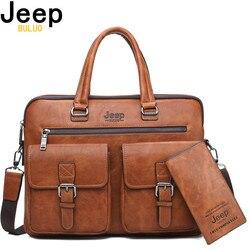 JEEP BULUO Männer Aktentasche Tasche Für 13'3 zoll Laptop Business Taschen 2Pcs Set Handtaschen Hohe Qualität Leder Büro Schulter taschen Tote