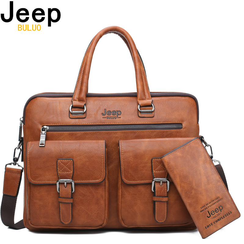 JEEP BULUO Men Briefcase Bag For 13'3 Inch Laptop Business Bags 2Pcs Set Handbags High Quality Leather Office Shoulder Bags Tote