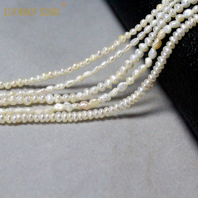 Fine 100% Natural Freshwater Pearl Irregular Rice Shape Beads For Jewelry Making DIY Bracelet Necklace 2-4mm Strand 14''(China)
