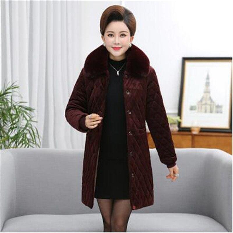 Moyen Manteau D'hiver Veste khaki Femmes D'or Coton 1121 Red Manches Chaud Vêtements Grande Wine Vers Taille Rétro Bas Nouveau D'âge black Longues Le Velours dY0wvqdx