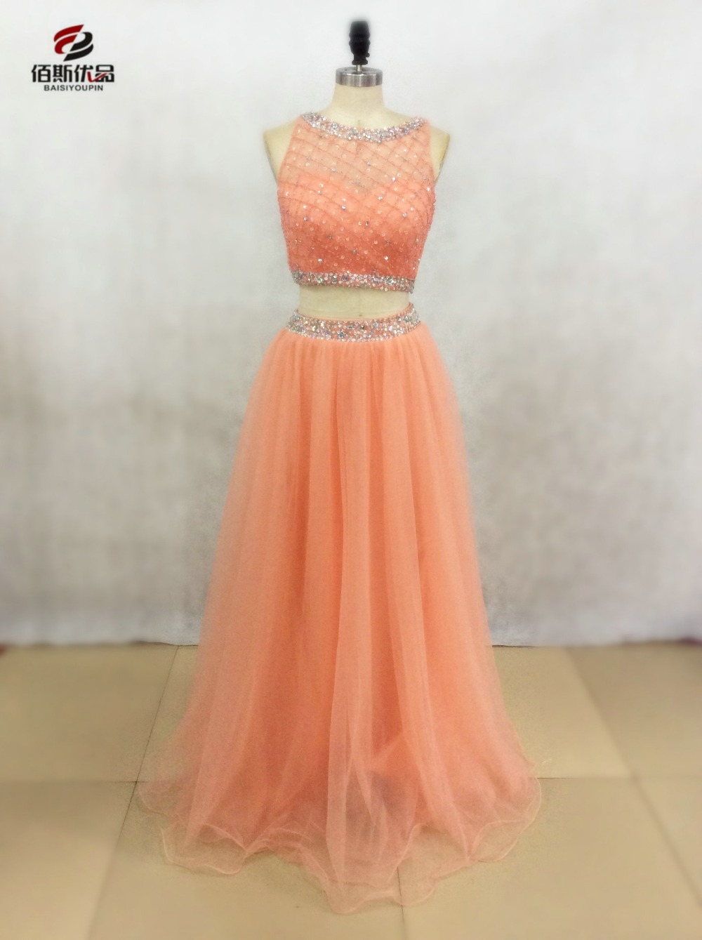 Stunning Sparkle Crystal Beaded Orange Organza Two Piece Prom Dresses 2017 New Style Women Long 2 in 1 Party Gowns Evening Dress