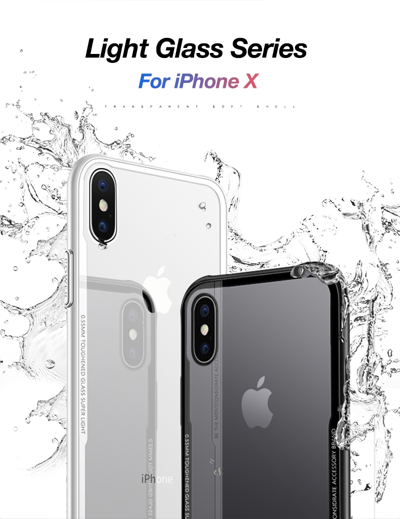 CAFELE New Original Phones Cases For iPhone X 10 Case soft TPU + Ultra Thin Transparent Glass Back Cover For iPhones X 10 Case (1)