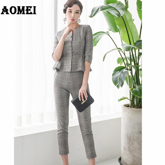35e120daded9 Women Two Pieces Set Plaid Tops Blazer Suit Pants Office Ladies Slim Suits  with Buttons Elegant