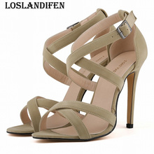 Loslandifen señoras Tacones altos Bombas Corea mujeres dulce sexy Zapatos  Cruz Correa señoras Tacones aguja Cruz hebilla Correa . 96ce2d5dd739