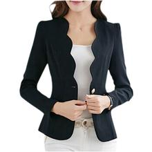 BFYL Autumn casual jackets women slim short design suit jackets office women coat clothing -Black,XL