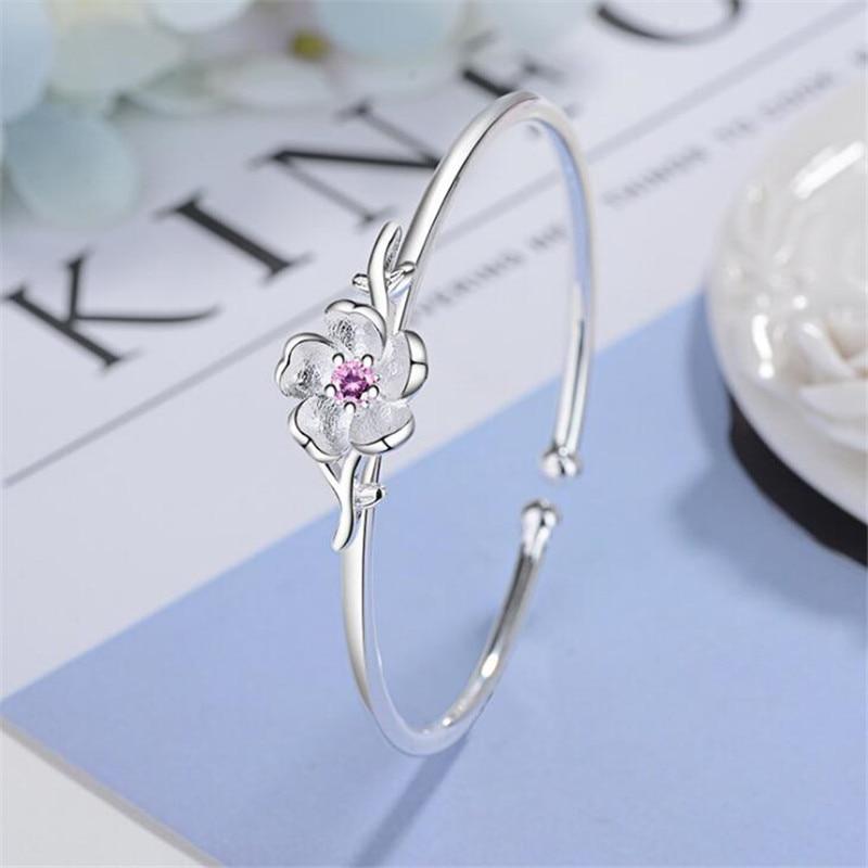 New 2018 Real 925 Sterling Silver Wedding Cute Flowers Open Bracelet Fashion Bracelets & Bangles Jewelry For Women Sieraden B091 браслет цепь new b091 10060 b4 5