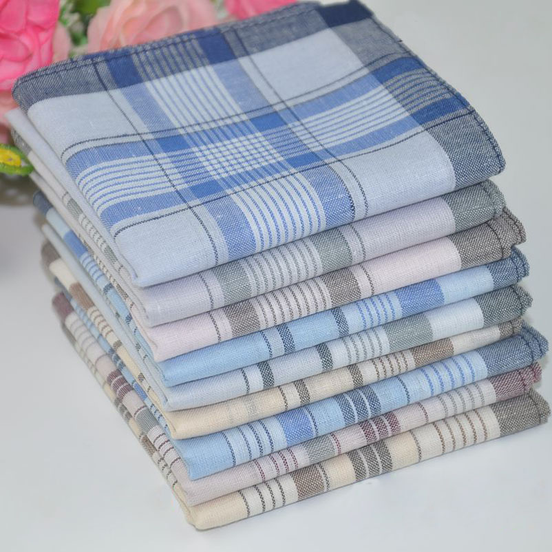 12pcs/lot Classic Plaid Men's Party Handkerchief Cotton Fabric Hanky Pocket Square 38*38cm