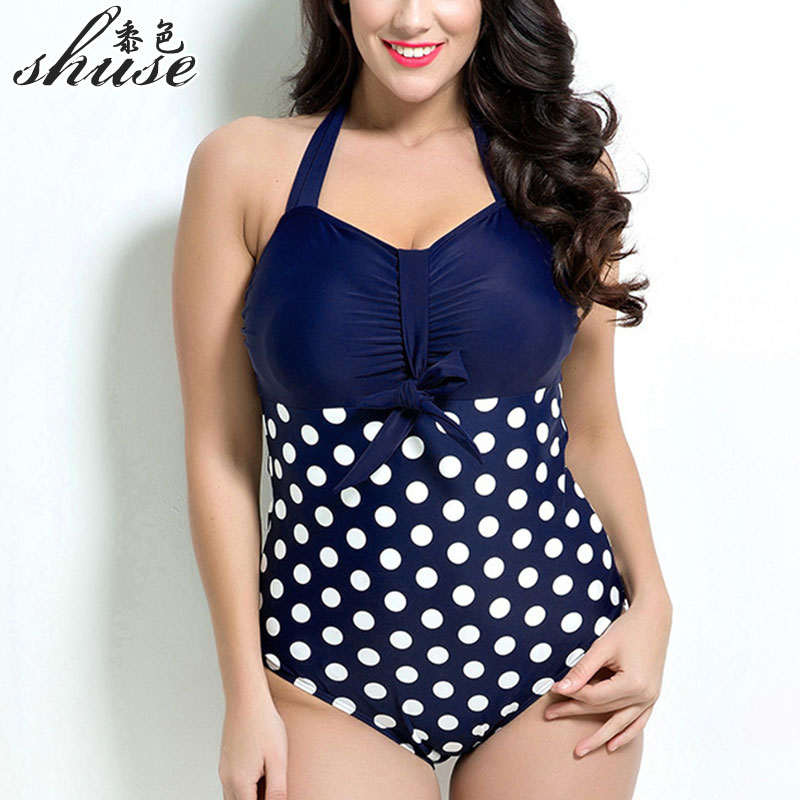 New One Piece Swimsuits Plus Size Women Polka Dot Sexy Underwire Large Size Swimwear Female Bodysuits One Piece Monokini1683 extra large size or more beach tropical swimsuits one pieces swimwear women 2017 monokini brand
