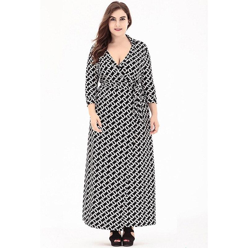 Mode européenne printemps automne femmes tenue décontractée Sexy col en V 3/4 manches imprimé grande taille 6XL Cardigan longue robe Vestido