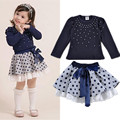Girls' Suits 2016 New Arrival Autumn Girls T-shirt Skirt 2pcs Clothing Diamond Dot Bow Dress Children's Skirt Suit