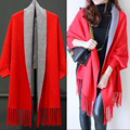 High Quality New 2017 Autumn Women's Elegant Cashmere Tassel Cardigan Sweaters Batwing Sleeves Scarf Cape Outwear C427