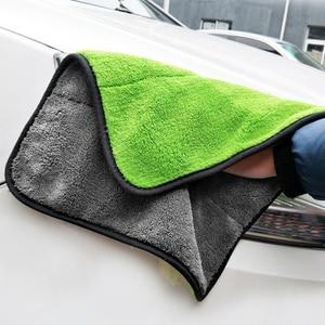 Image 4 - Ensemble de nettoyage et de séchage pour voiture, serviette de détail en microfibre, seau pliable Portable, gant Chenille imperméable, accessoire de lavage, 3 pièces