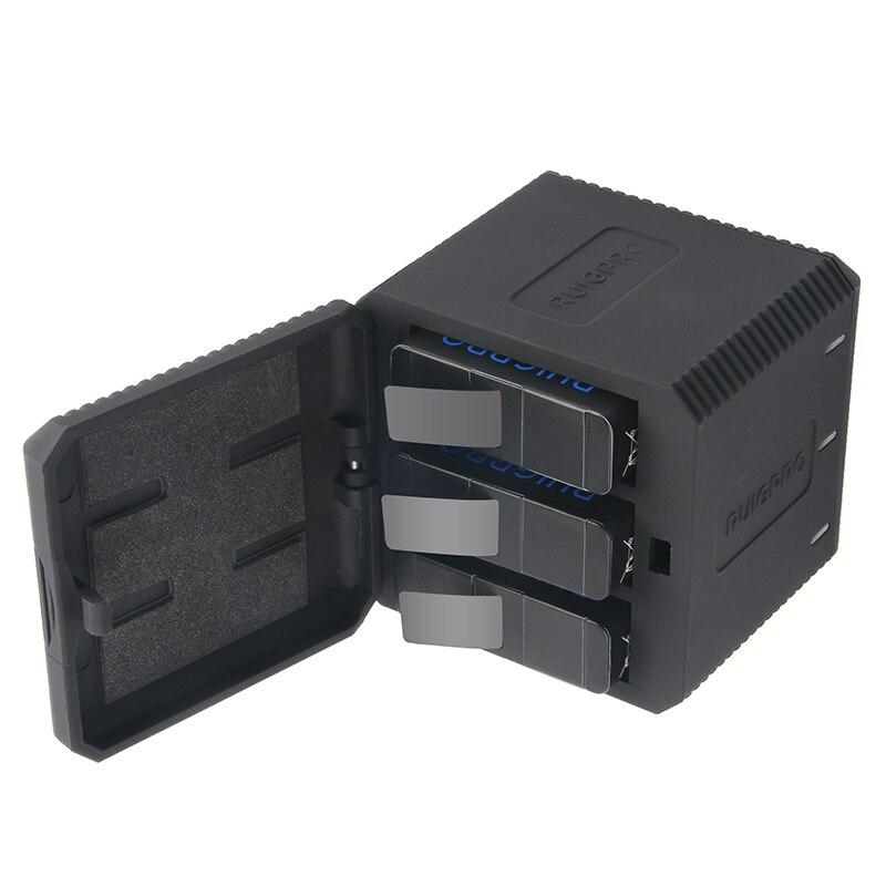 Go pro hero 6/5 + 3 vías cargador de batería para Go pro hero Yi Lite Xiaomi Yi4k SJCAM sj4000 acción deporte Cámara