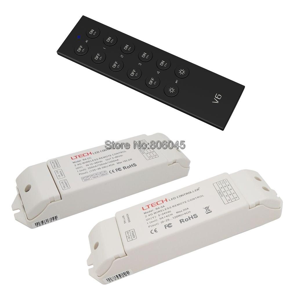 Ltech v6 2.4グラムled色温度cct 4ゾーンリモートコントローラ& R4-5A R4-CC受信機コントローラ用デュアルホワイトストリップまたはランプ