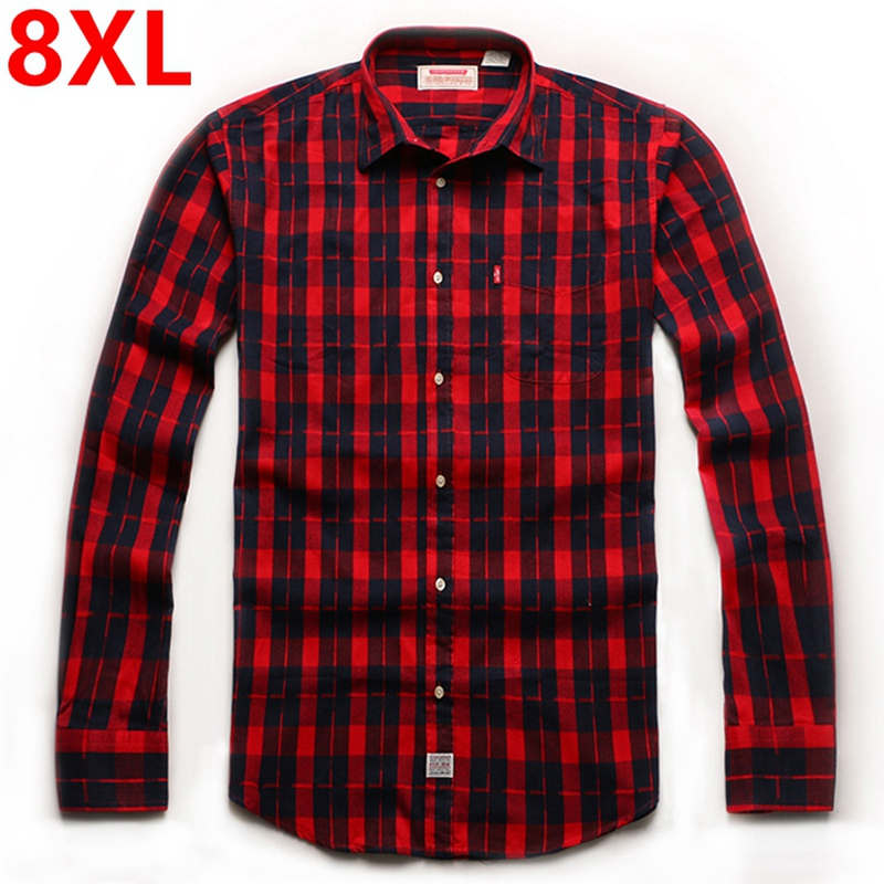 Fertilizer increase in autumn winter super large yards of fat euro 8 xl flannel grid long