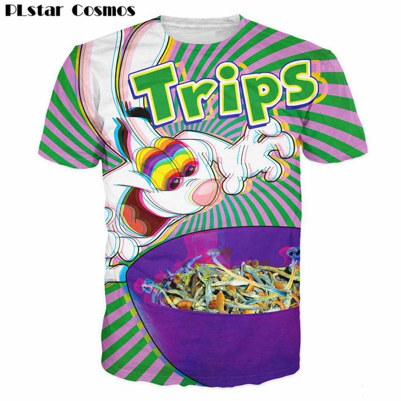 PLstar Cosmos 3d Trips arent for Kids T-Shirt Trippy Vibrant Trix Rabbit Character Psychedelic T Shirt Cartoon Casual Tops 5XL