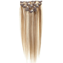 Best Sale Women Human Hair Clip In Hair Extensions 7pcs 70g 22inch Brown + Gold-brown
