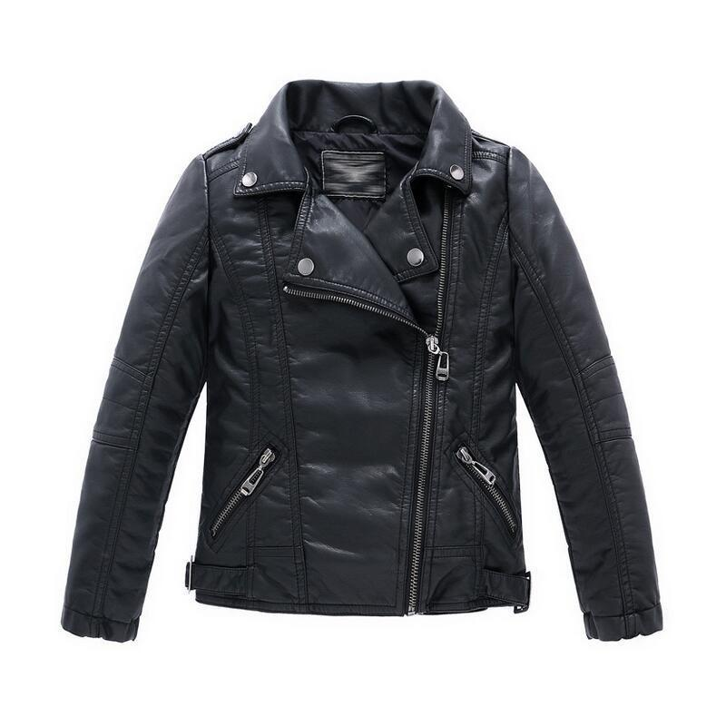 Teenager Baby Boys Leather Jacket  Boys Casual Black Solid Children Outerwear Kids Girls Coats Spring Leather Jackets 2017 New children winter coats jacket baby boys warm outerwear thickening outdoors kids snow proof coat parkas cotton padded clothes
